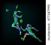 womens doubles badminton... | Shutterstock .eps vector #477187990