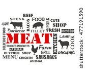meat. text set of butcher .  | Shutterstock . vector #477191590