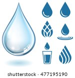 vector realistic water drop and ... | Shutterstock .eps vector #477195190