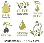 vector set of olive oil  labels | Shutterstock .eps vector #477195196