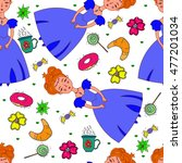 seamless pattern with sweets... | Shutterstock .eps vector #477201034