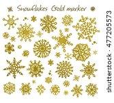 set of golden hand drawn...   Shutterstock .eps vector #477205573