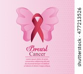 butterfly ribbon breast cancer... | Shutterstock .eps vector #477213526