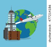 baggage airplane tower travel...   Shutterstock .eps vector #477214186