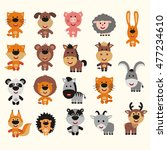 big set of isolated animals in... | Shutterstock .eps vector #477234610