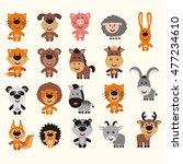 big set of funny animals.... | Shutterstock .eps vector #477234610