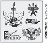 set of guitar shop labels ... | Shutterstock .eps vector #477243070