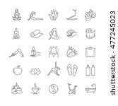 thin line yoga icons set.... | Shutterstock .eps vector #477245023