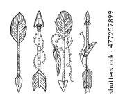 vector doodle bow arrows set... | Shutterstock .eps vector #477257899