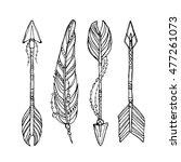 vector doodle bow arrows set... | Shutterstock .eps vector #477261073