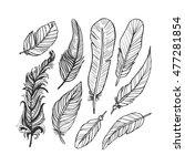 vintage feather ink vector set. ... | Shutterstock .eps vector #477281854