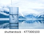 pouring water into a glass... | Shutterstock . vector #477300103