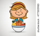 girl plate fruit vegetables | Shutterstock .eps vector #477305983