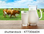 Milk In Glass And In Jar On...