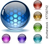 glossy colorful abstract globes ...
