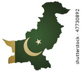 some old vintage map with flag of pakistan - stock vector