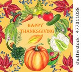 happy thanksgiving card on... | Shutterstock . vector #477311038