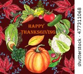 thanksgiving card with hand... | Shutterstock . vector #477311068