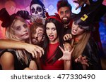 Stock photo group of creepy friends at the party 477330490