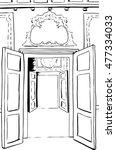 two sets of outlined open doors ... | Shutterstock .eps vector #477334033