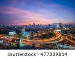 evening aerial scene of bangkok ... | Shutterstock . vector #477339814