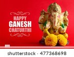 happy ganesh chaturthi greeting ... | Shutterstock . vector #477368698
