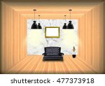 black leather sofa in empty...   Shutterstock . vector #477373918