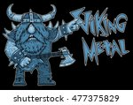 viking rock star  metal  music ... | Shutterstock . vector #477375829
