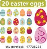 20 cute easter eggs. vector | Shutterstock .eps vector #47738236