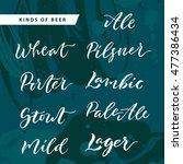 kinds of beer hand lettering... | Shutterstock .eps vector #477386434