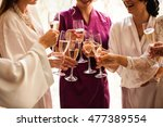 bride and bridesmaids celebrate ... | Shutterstock . vector #477389554
