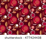Deep Red 60s Floral Retro...