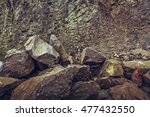 Vertical Strata Rock Wall And...