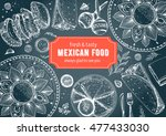 mexican food frame. mexican... | Shutterstock .eps vector #477433030
