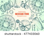 mexican food frame. mexican... | Shutterstock .eps vector #477433060