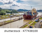Ship Crossing Panama Canal At...
