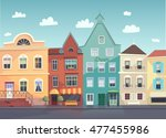 sunny city street. doors and... | Shutterstock . vector #477455986