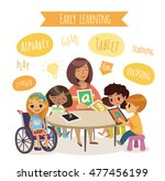 group of children and tiitor... | Shutterstock . vector #477456199