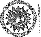 bohemian hand drawn sun and...   Shutterstock .eps vector #477470470