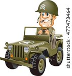 Soldier Driving A Military Jee...
