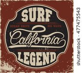 california surf typography  t... | Shutterstock . vector #477475543