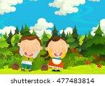 cartoon happy and funny farm... | Shutterstock . vector #477483814