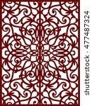 greeting card  laser cut pattern | Shutterstock .eps vector #477487324