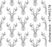 deer pattern on white... | Shutterstock .eps vector #477492178