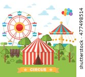 abstract circus tent . raster... | Shutterstock . vector #477498514