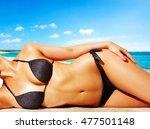 woman with black bikini on the... | Shutterstock . vector #477501148