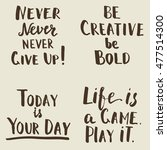 happy motivational quotes set.... | Shutterstock .eps vector #477514300