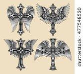 winged cross set | Shutterstock .eps vector #477548530