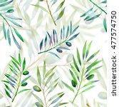 seamless pattern with olive... | Shutterstock . vector #477574750