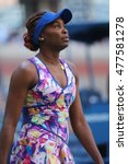 Small photo of NEW YORK - AUGUST 30, 2016: Grand Slam champion Venus Williams of United States in action during her first round match at US Open 2016 at Billie Jean King National Tennis Center in New York